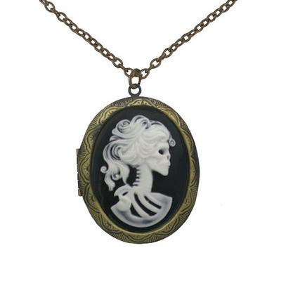 Jewelry - White Zombie Cameo In Gold Locket Pendant