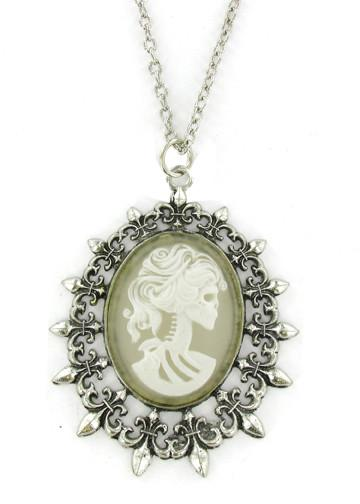 Jewelry - White Zombie Ghost Cameo In Fleur De Lis Pendant