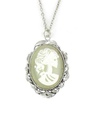 Jewelry - White Zombie Ghost Cameo In Scroll Pendant