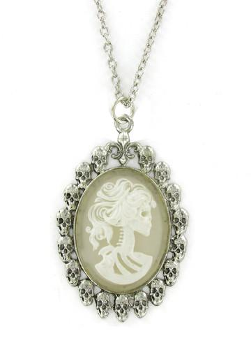 Jewelry - White Zombie Ghost Cameo In Skull Pendant