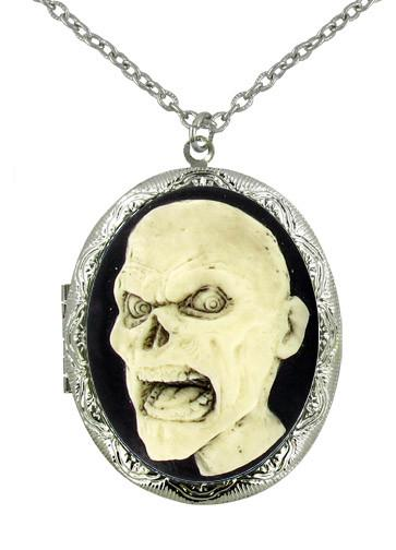 Jewelry - Zombie Head Cameo Locket Pendant