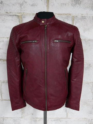 Leather Jackets - The General Mens Red Leather Jacket | The Alley