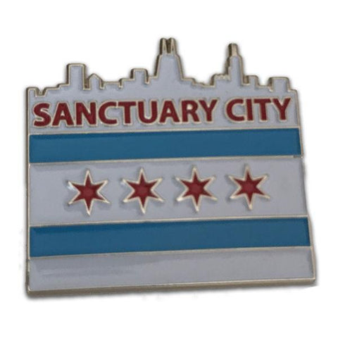 Sanctuary City Chicago Flag Pin