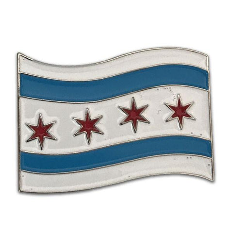 Wind Blown Chicago Flag Pin