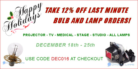 DynamicLamps.com, take 12% OFF all lamp and bulb orders now!  Use code DEC016 at checkout.  Offer valid December 18-25th.