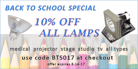 Dynamic Lamps Back To School Special 2017.  Take 10% Off Your Lamp Order Now.  Use code BTS017 at checkout.  Offer valid through 8/14/17.