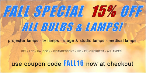 Dynamic Lamps 2016 Fall Special - 15% Off All Lamps and Bulbs!