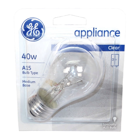 15206 GE 120V 40W A15 Card E26 Incandescent Appliance Bulb with Packaging