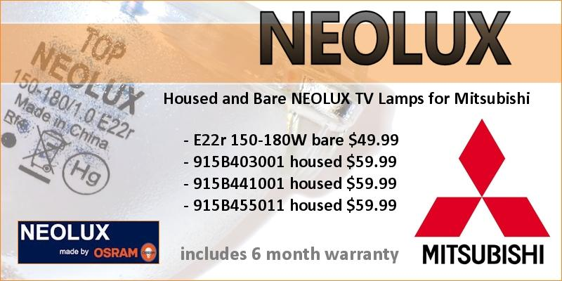 Osram NEOLUX TV Lamps For Mitsubishi Rear Projection TVs. Housed and Bare Lamps. Includes 6 Month Warranty.