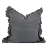 Linen Ruffle Cushion - Charcoal