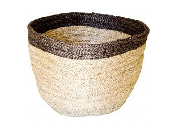 Jute Bowl Natural with Charcoal Trim