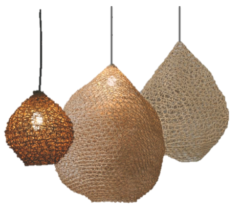 Thin Weave Woven Paper Pendant Shades Natural