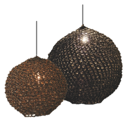 Thick Weave - Woven  Paper Pendant Shade Charcoal