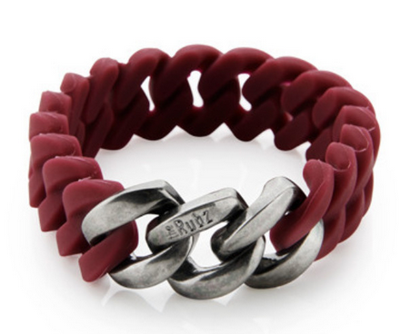 The Rubz Bracelet Red Wine & Antique Silver 15mm