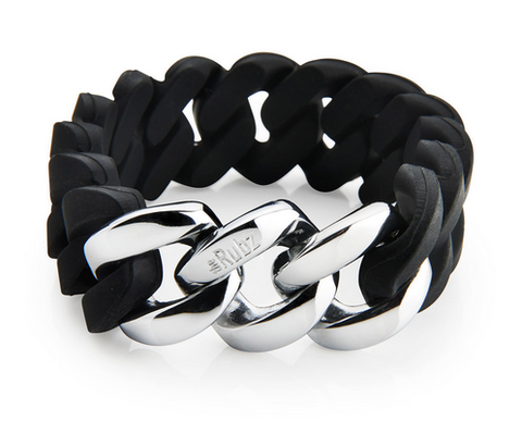 The Rubz Bracelet Black & Silver 20mm