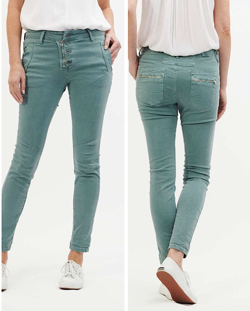 Classic Button Fly Jeans - Aqua