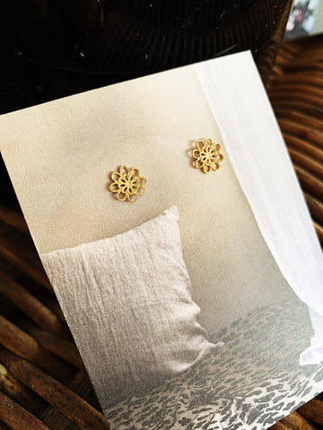 Gold Plated Filigree Stud