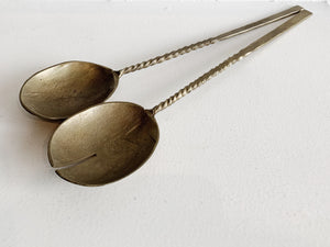 Aged Brass Salad Servers