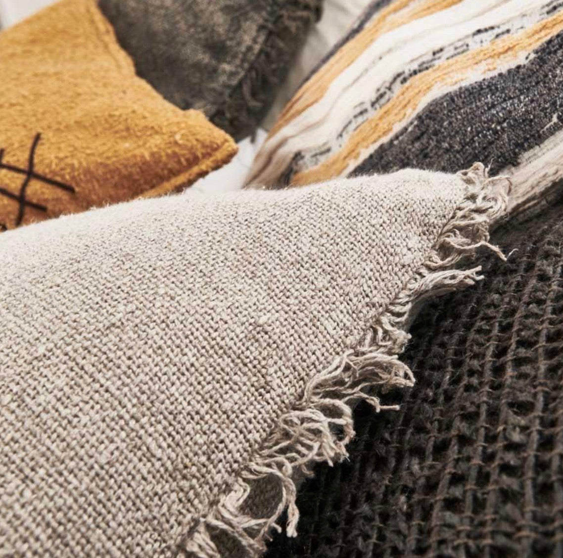 Rustic Linen Cushion - Square