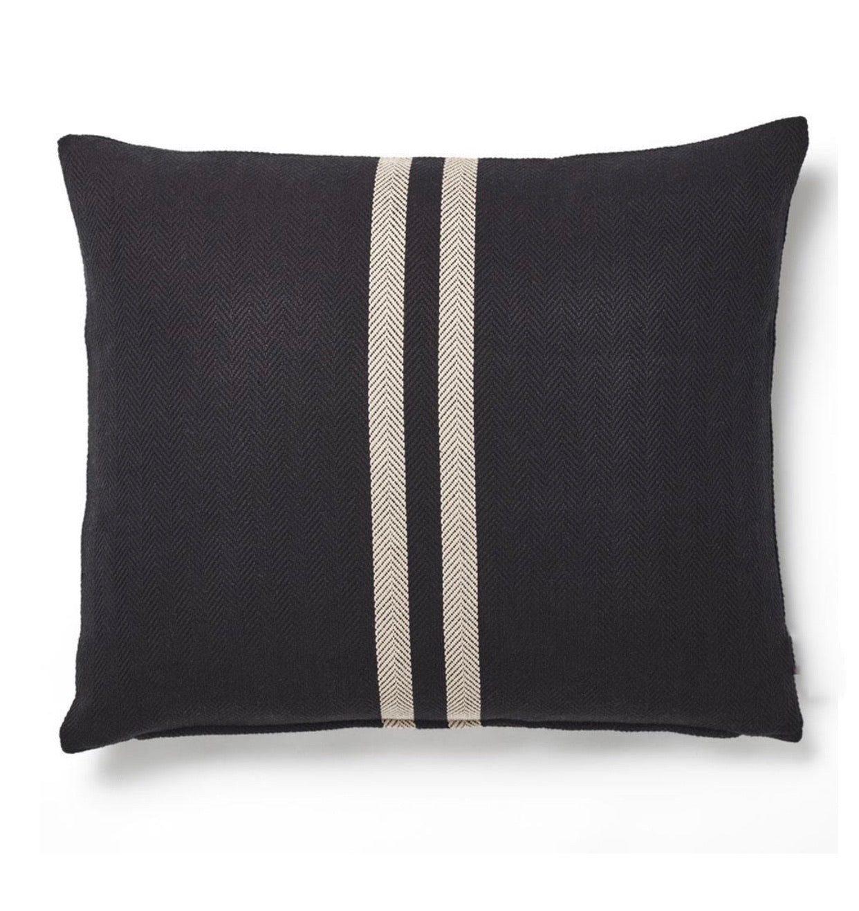 Herringbone Stripe Cushion - Black/Natural
