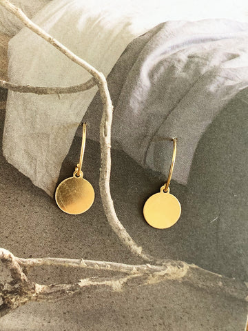 Gold Circle Drop Earring