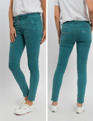 Button Fly Jeans - Turquoise