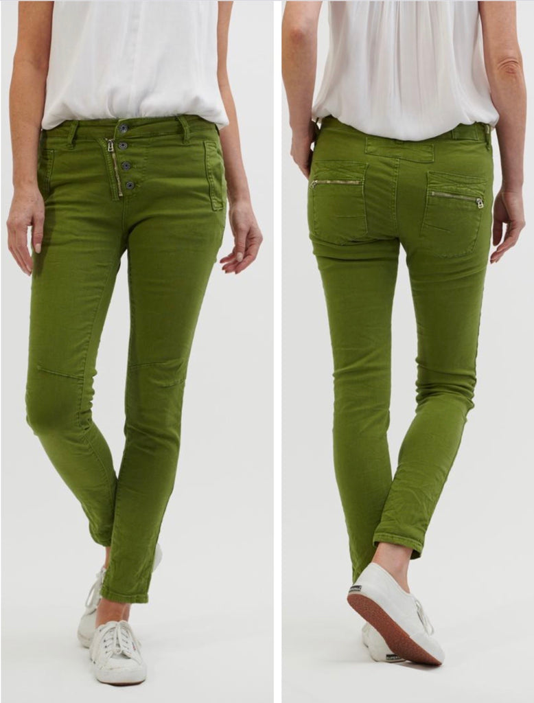 Button Fly Jeans - Apple Green