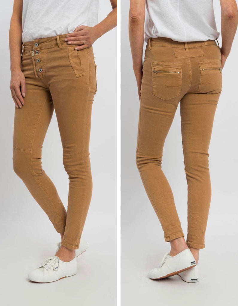 Button Fly Jeans - Biscotti