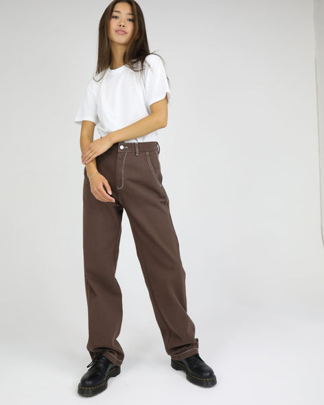 High Waisted Cotton Drill Pant: Chocolate / White Stitch