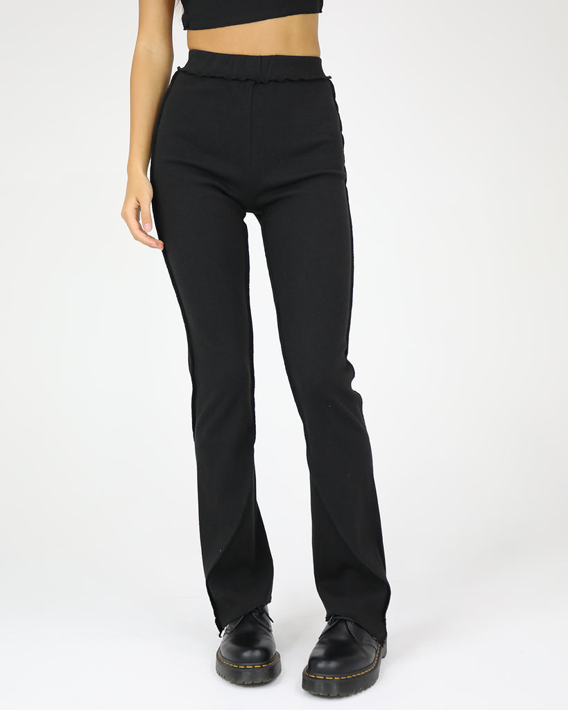 Deconstructed Rib Pant: Black