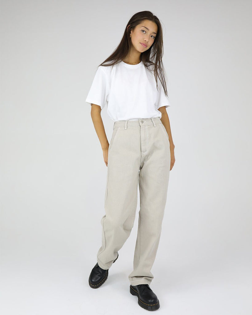 High Waisted Cotton Drill Pant: Beige/ White Stitch