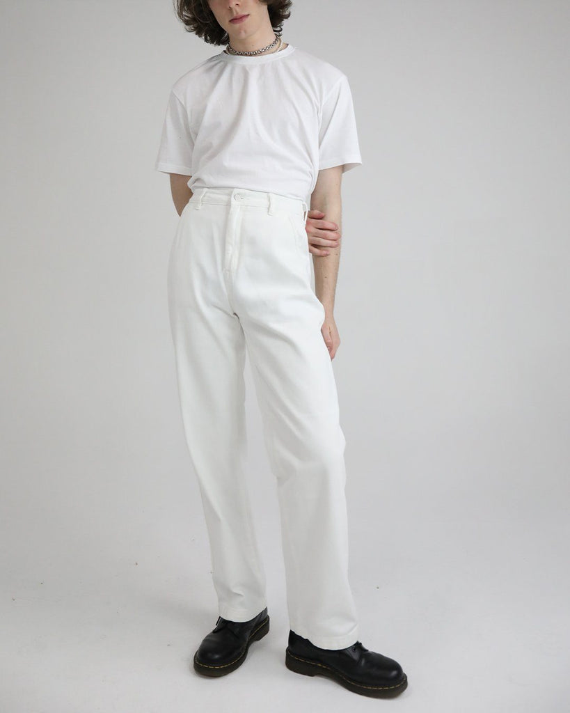 High Waisted Cotton Drill Pant: White