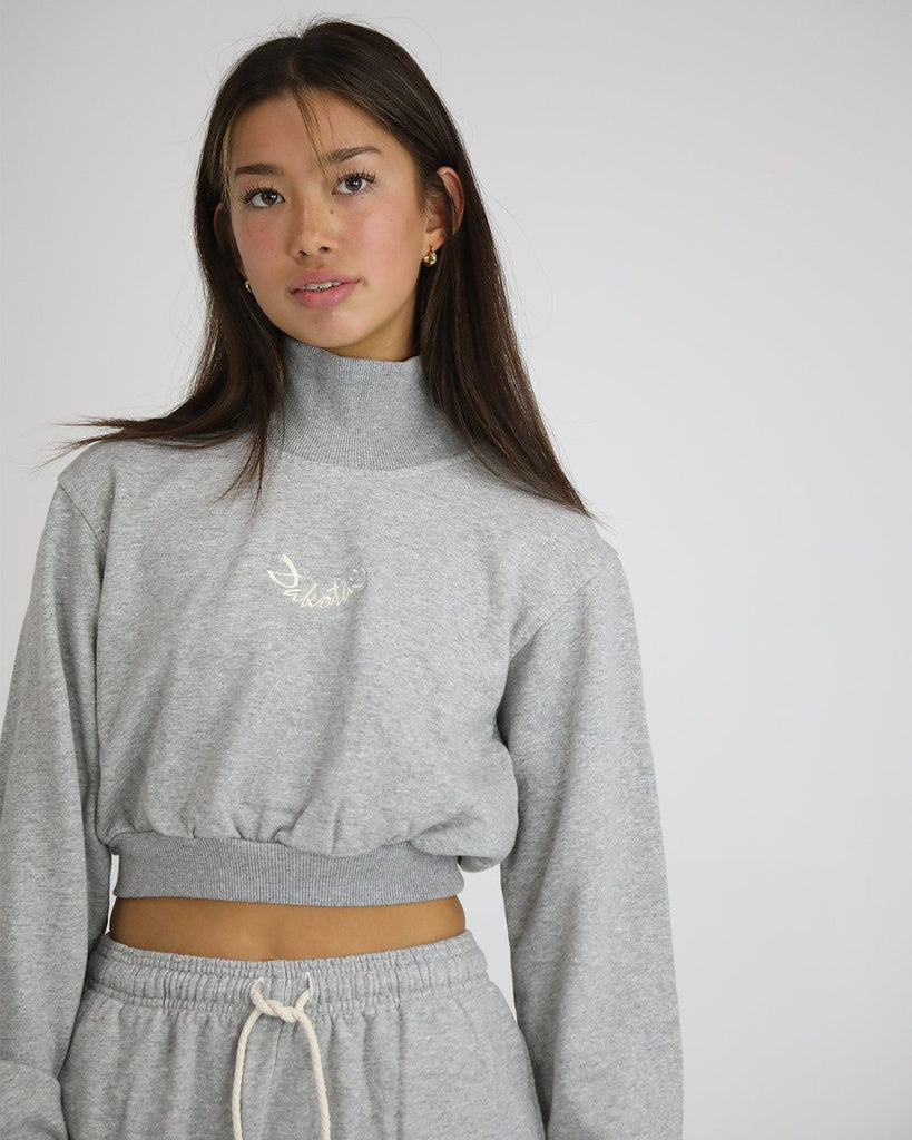 Smiley Crop Turtle Top: Natural Marle Grey