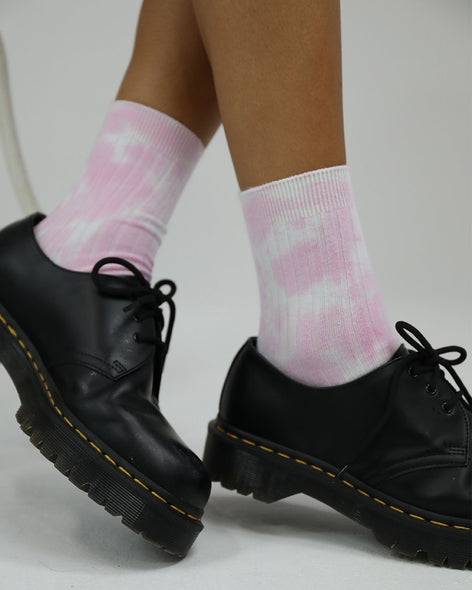 Cotton Rib Socks Blush Tie Dye