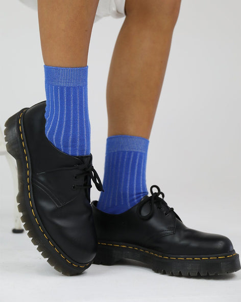 Cotton Rib Socks - Cobalt