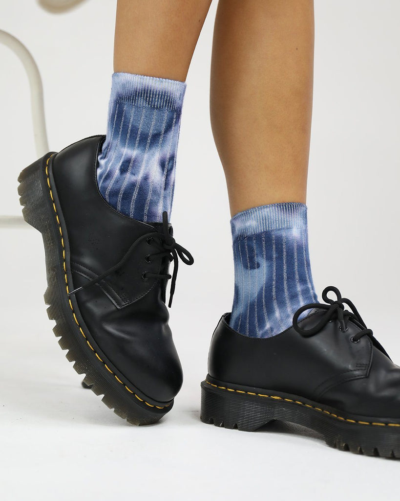 Cotton Rib Socks Indigo Blues Tie Dye