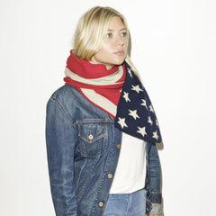 THE VOTARY SCARF - Classic (Red Blue Ecru)