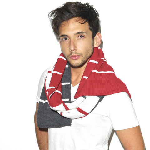 BROOME SCARF - Red Charcoal White