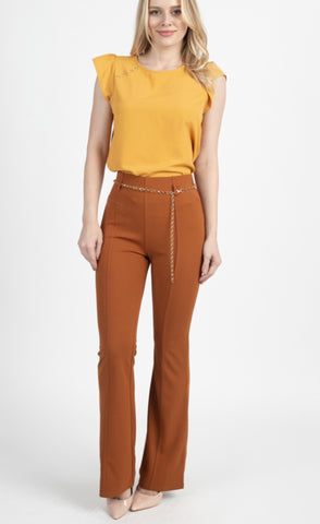 Chain Belted Flare Pants