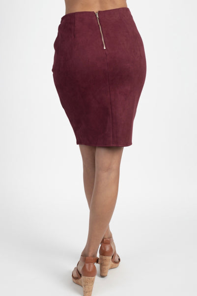 Faux Suede Twist Skirt