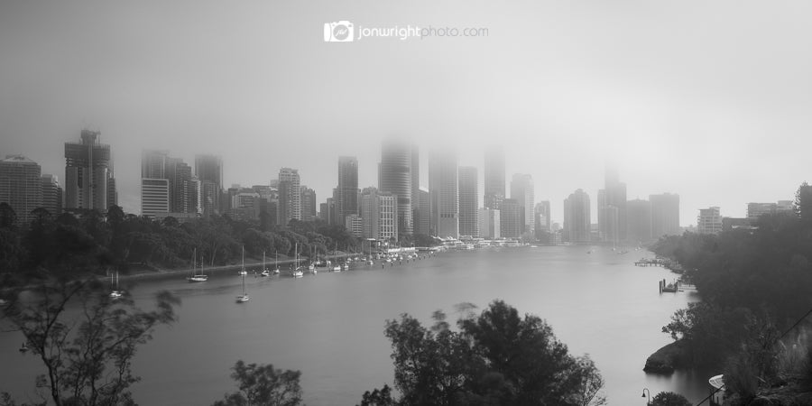 Brisbane City fog panorama