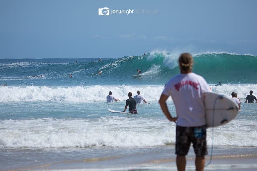 Mark Occhilupo assesses the conditions before heading out at Snapper Rocks Gold Coast