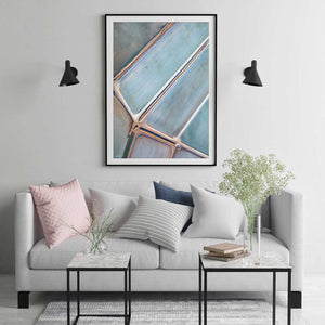 Framed abstract print in black frame and modern styling