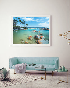 Binalong Bay Beach Print White Frame