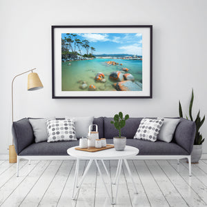 Binalong Bay Beach Print Black Frame