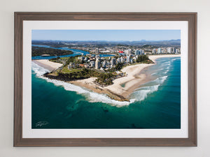 Beach Brown framed Coolangatta aerial