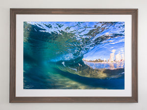 Beach brown framed metallic print - Gold Coast