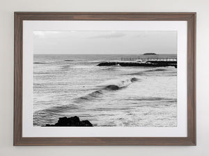 Beach brown framed metallic print with white mat