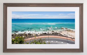 Beach brown framed metallic print