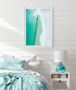 Paralell Lines Beach Print Aerial Wave Art White Frame